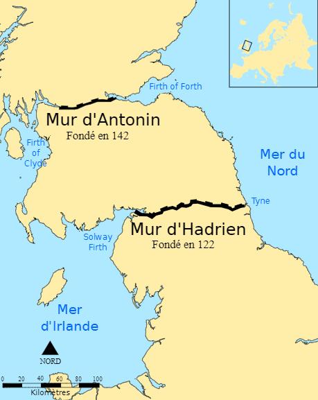 carte mur d'Hadrien et d'Antonin