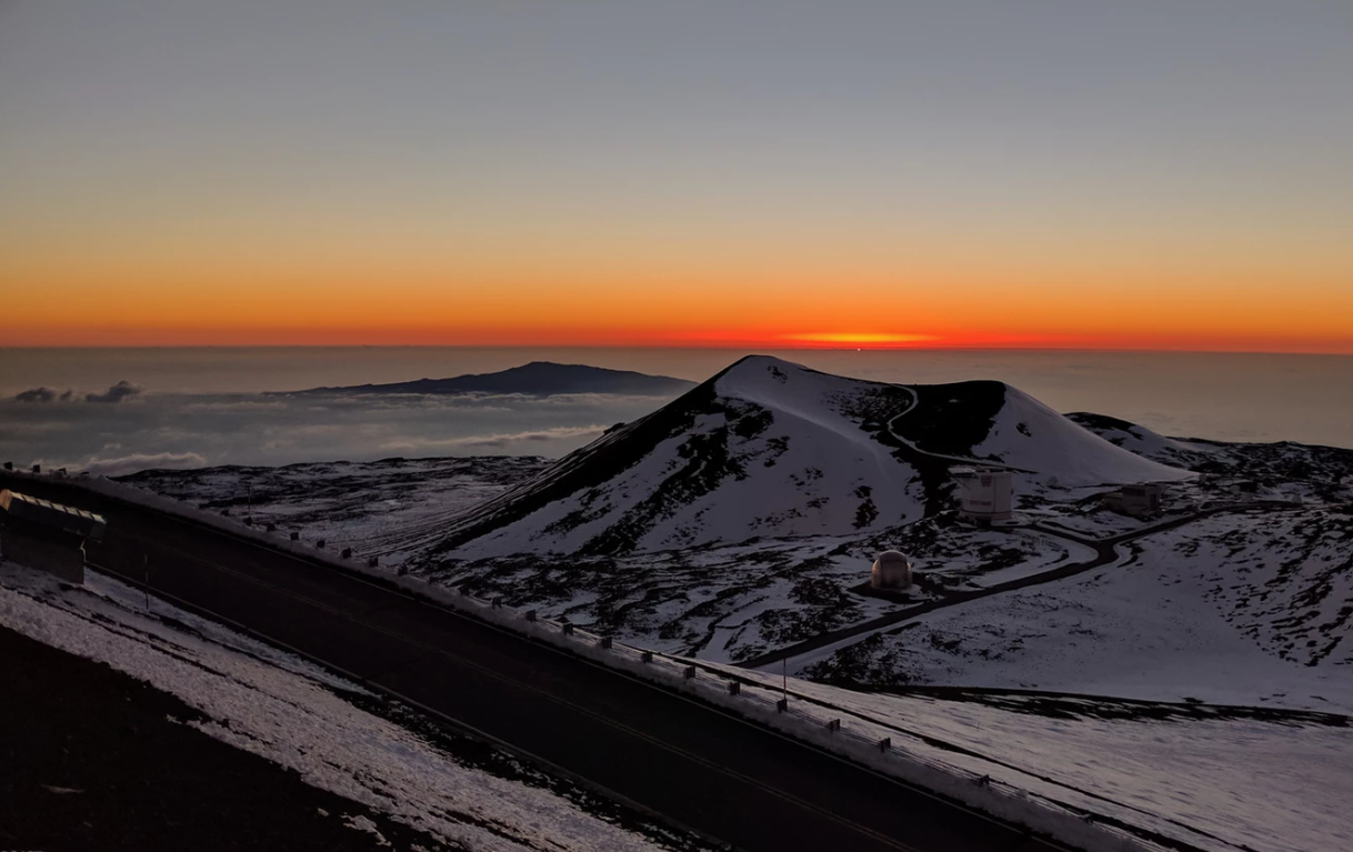 coucher de soleil à Mauna Kea, Hawai